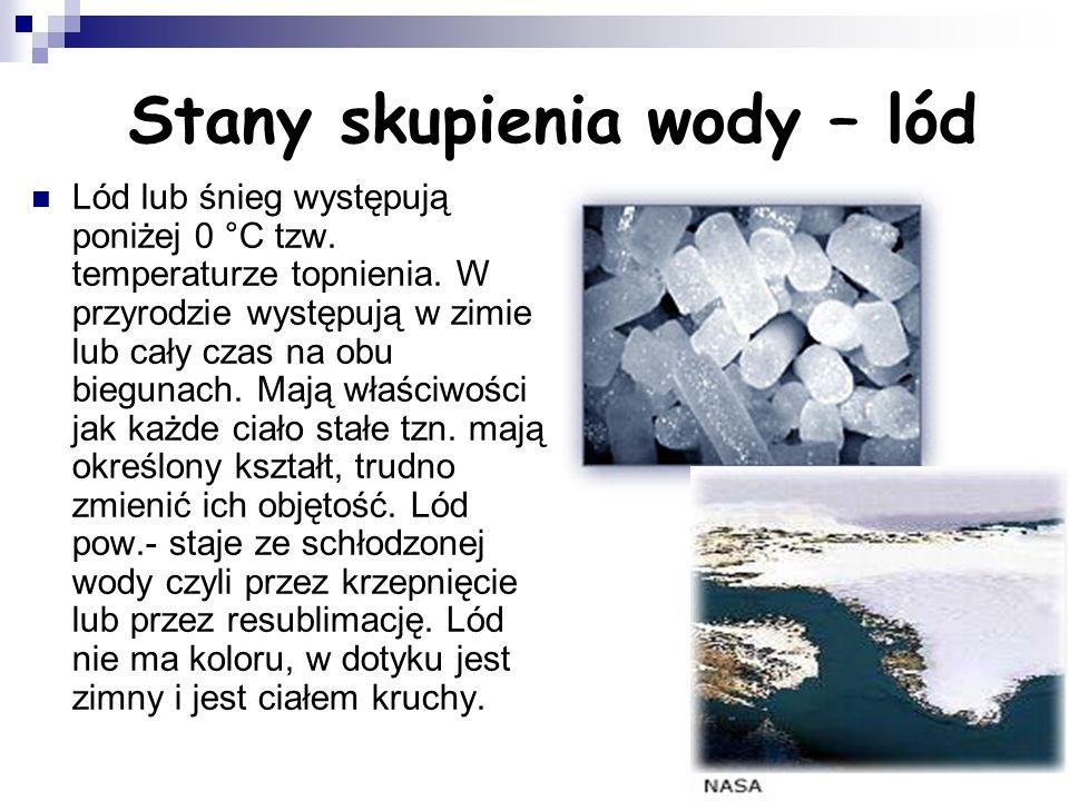 Stany skupienia wody – lód Lód lub śnieg występują poniżej 0 °C tzw.