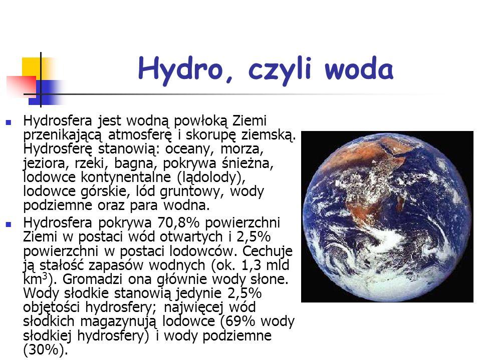 Hydro, czyli woda Hydrosfera jest wodną powłoką Ziemi przenikającą atmosferę i skorupę ziemską. Hydrosferę stanowią: oceany, morza, jeziora, rzeki, ba