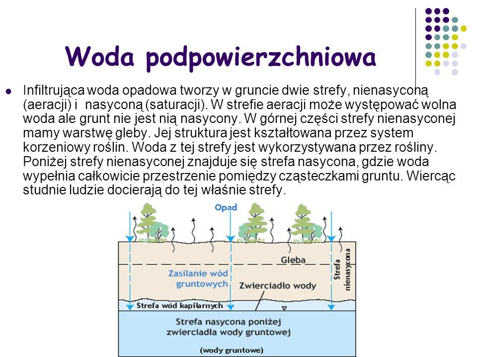 Woda podpowierzchniowa Infiltrująca woda opadowa tworzy w gruncie dwie strefy, nienasyconą (aeracji) i nasyconą (saturacji). W strefie aeracji może wy