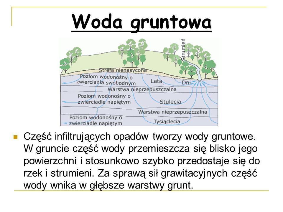 Woda gruntowa Część infiltrujących opadów tworzy wody gruntowe. W gruncie część wody przemieszcza się blisko jego powierzchni i stosunkowo szybko prze