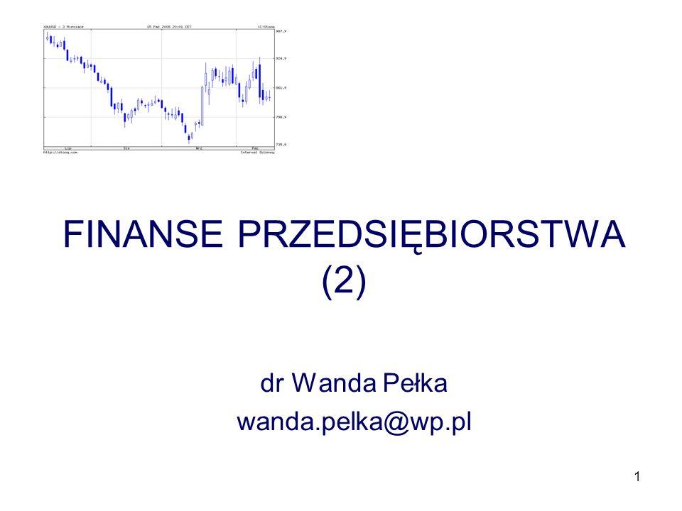 1 FINANSE PRZEDSIĘBIORSTWA (2) dr Wanda Pełka wanda.pelka@wp.pl