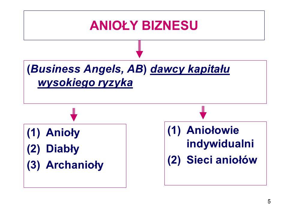 5 ANIOŁY BIZNESU (Business Angels, AB) dawcy kapitału wysokiego ryzyka (1)Anioły (2)Diabły (3)Archanioły (1)Aniołowie indywidualni (2)Sieci aniołów
