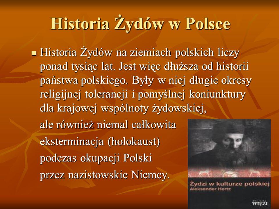 Historia Żydów w Polsce Historia Żydów na ziemiach polskich liczy ponad tysiąc lat. Jest więc dłuższa od historii państwa polskiego. Były w niej długi