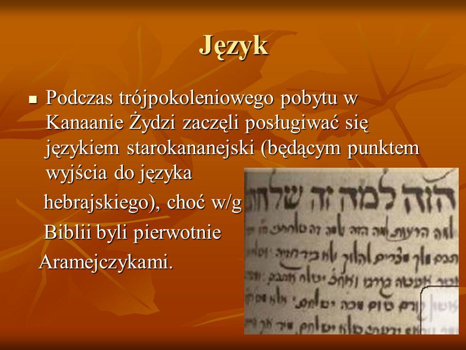 Język Podczas trójpokoleniowego pobytu w Kanaanie Żydzi zaczęli posługiwać się językiem starokananejski (będącym punktem wyjścia do języka Podczas tró