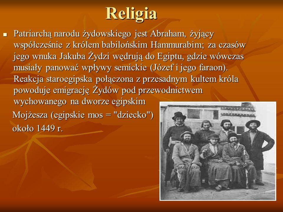 Religia Patriarchą narodu żydowskiego jest Abraham, żyjący współcześnie z królem babilońskim Hammurabim; za czasów jego wnuka Jakuba Żydzi wędrują do