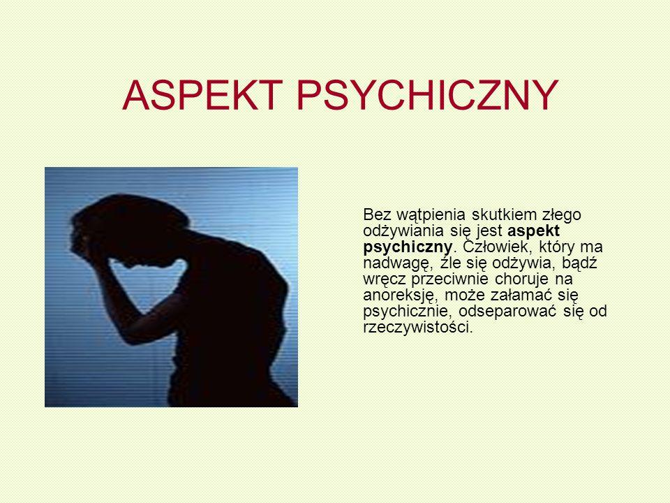 ASPEKT PSYCHICZNY Bez wątpienia skutkiem złego odżywiania się jest aspekt psychiczny. Człowiek, który ma nadwagę, źle się odżywia, bądź wręcz przeciwn