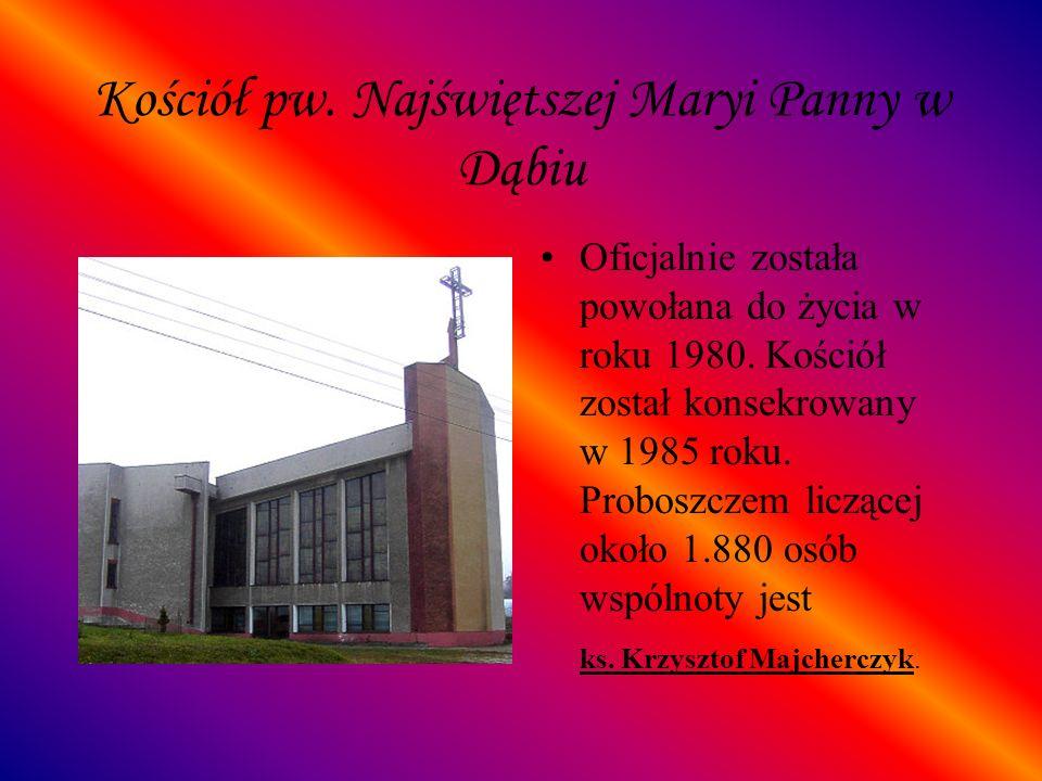 Kościół pw. Najświętszej Maryi Panny w Dąbiu Oficjalnie została powołana do życia w roku 1980. Kościół został konsekrowany w 1985 roku. Proboszczem li