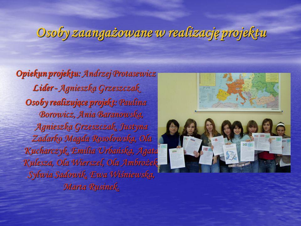 Osoby zaangażowane w realizację projektu Opiekun projektu: Andrzej Protasewicz Lider - Agnieszka Grzeszczak Osoby realizujące projekt: Paulina Borowic