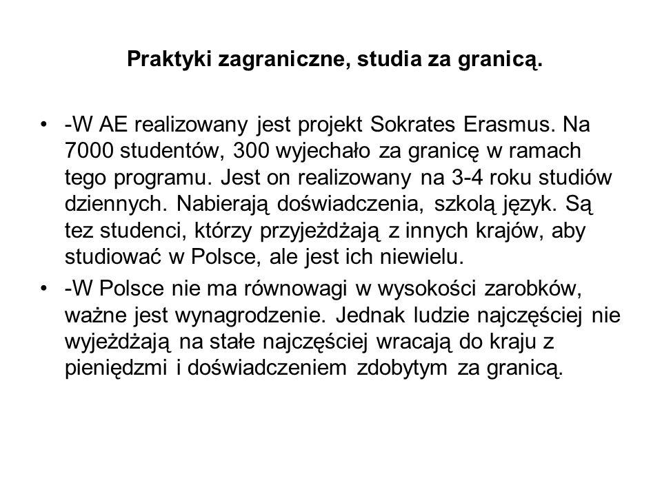 Praktyki zagraniczne, studia za granicą. -W AE realizowany jest projekt Sokrates Erasmus.