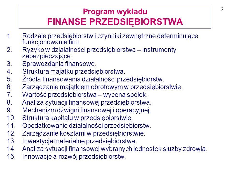 LITERATURA 1.J.Szczepański, L. Szyszko (red), Finanse przedsiębiorstwa, PWE, Warszawa 2007.