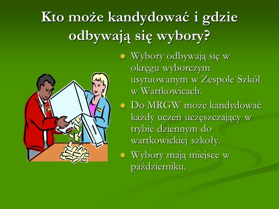Kto może kandydować i gdzie odbywają się wybory? Wybory odbywają się w okręgu wyborczym usytuowanym w Zespole Szkól w Wartkowicach. Do MRGW może kandy