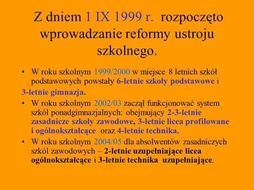 Reforma oświaty W związku ze stopniowym prowadzaniem reformy ustroju szkolnego, obok szkół ponadgimnazjalnych działają jeszcze- do zakończenia cyklu kształcenia –szkoły ponadpodstawowe (dla absolwentów 8- letniej szkoły podstawowej).