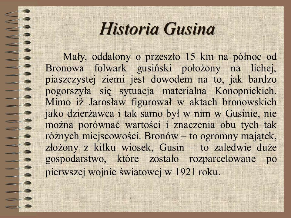 Historia Gusina Mały, oddalony o przeszło 15 km na północ od Bronowa folwark gusiński położony na lichej, piaszczystej ziemi jest dowodem na to, jak b