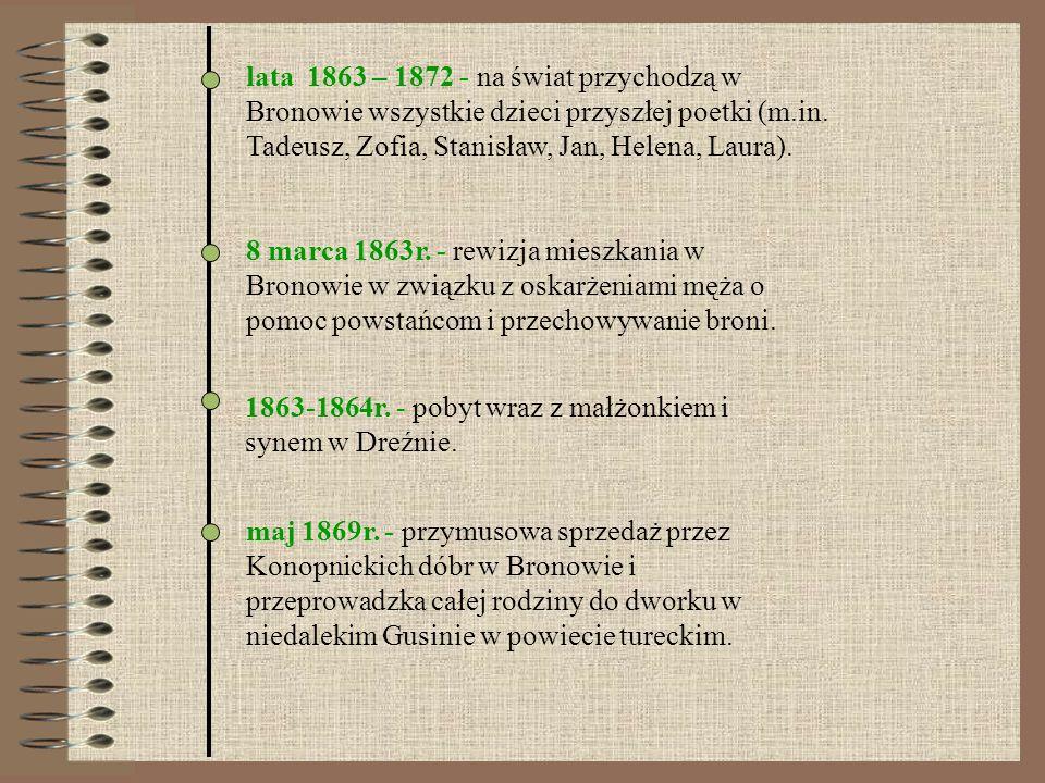 lata 1863 – 1872 - na świat przychodzą w Bronowie wszystkie dzieci przyszłej poetki (m.in. Tadeusz, Zofia, Stanisław, Jan, Helena, Laura). 8 marca 186