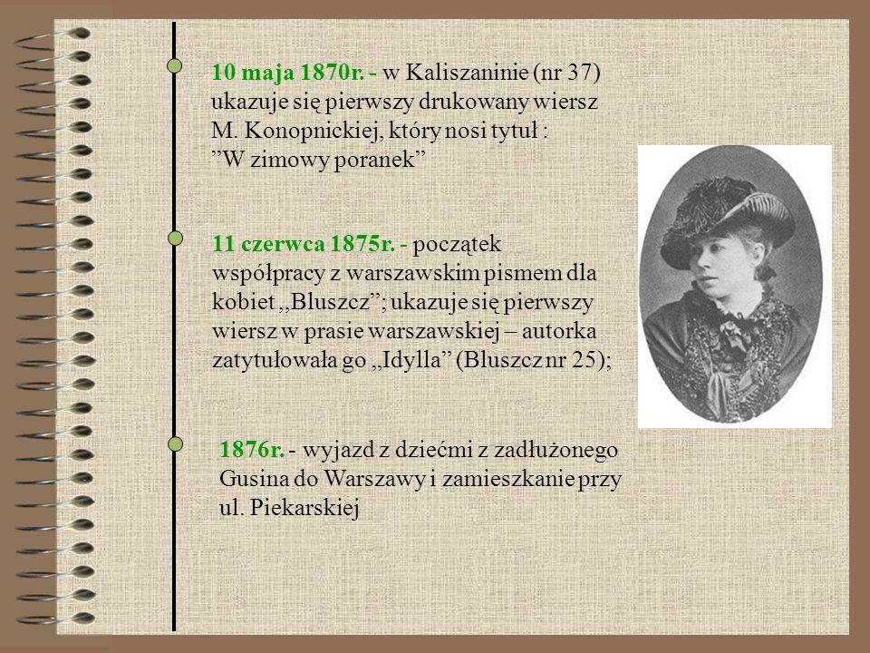 10 maja 1870r. - w Kaliszaninie (nr 37) ukazuje się pierwszy drukowany wiersz M. Konopnickiej, który nosi tytuł : W zimowy poranek 11 czerwca 1875r. -