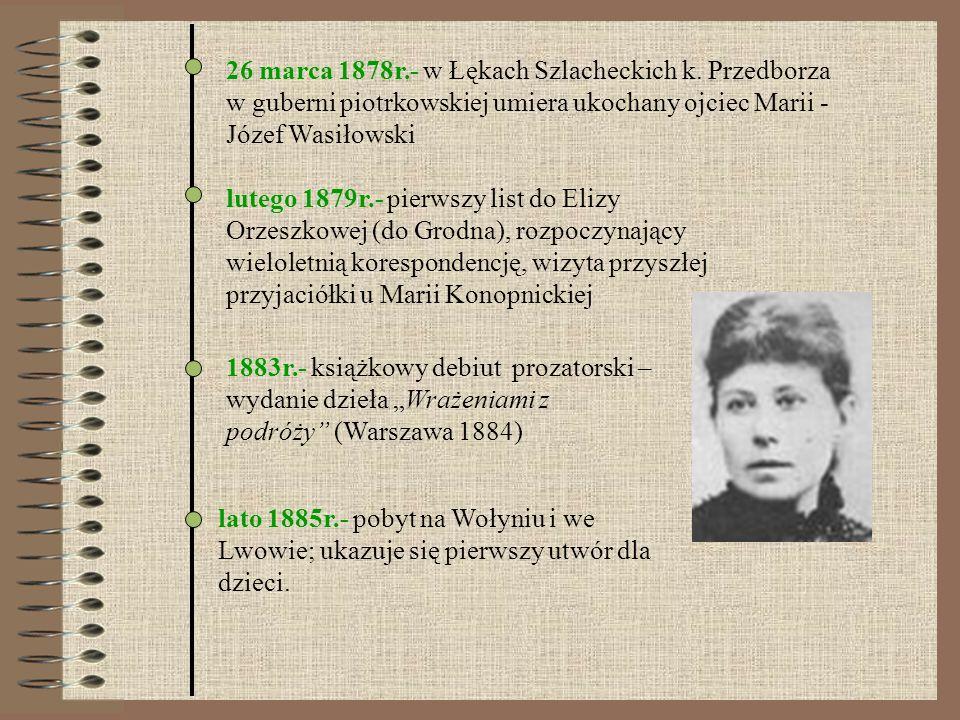 26 marca 1878r.- w Łękach Szlacheckich k. Przedborza w guberni piotrkowskiej umiera ukochany ojciec Marii - Józef Wasiłowski lutego 1879r.- pierwszy l