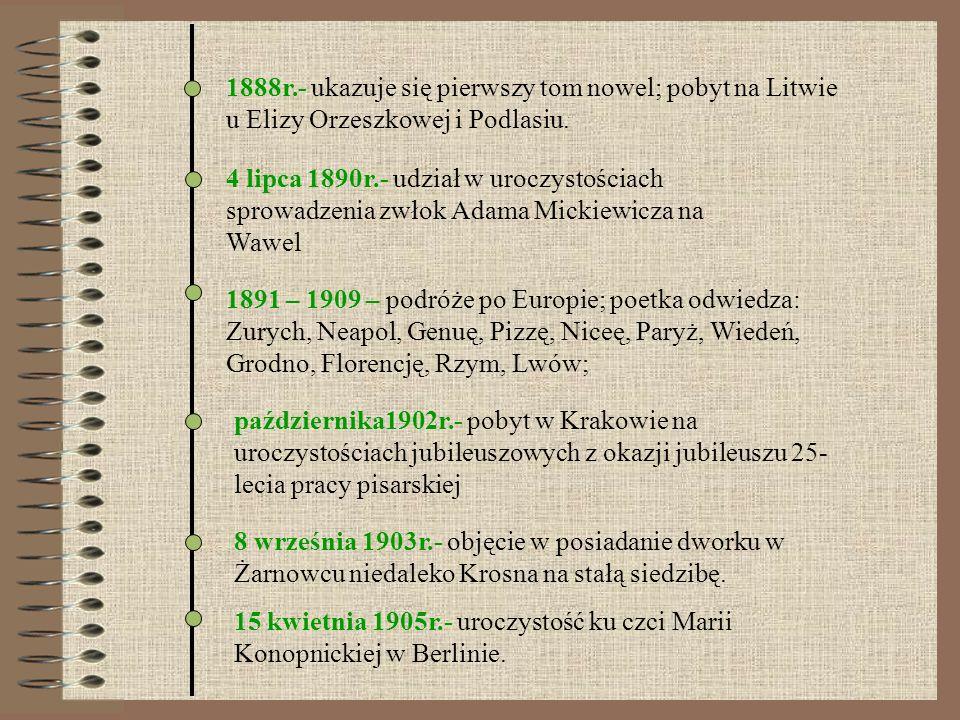 1888r.- ukazuje się pierwszy tom nowel; pobyt na Litwie u Elizy Orzeszkowej i Podlasiu. 1891 – 1909 – podróże po Europie; poetka odwiedza: Zurych, Nea
