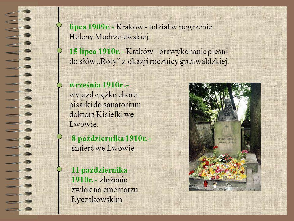 11 października 1910r. - złożenie zwłok na cmentarzu Łyczakowskim 8 października 1910r. - śmierć we Lwowie września 1910r.- wyjazd ciężko chorej pisar