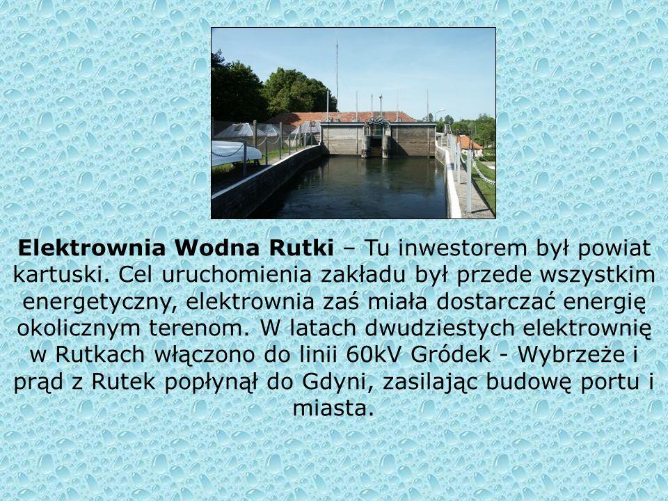 Elektrownia Wodna Straszyn - została zbudowana już 3 października 1910 roku. Inwestycja powstała z inicjatywy Rady Powiatu Gdańsk Wyżyny w celu zapobi