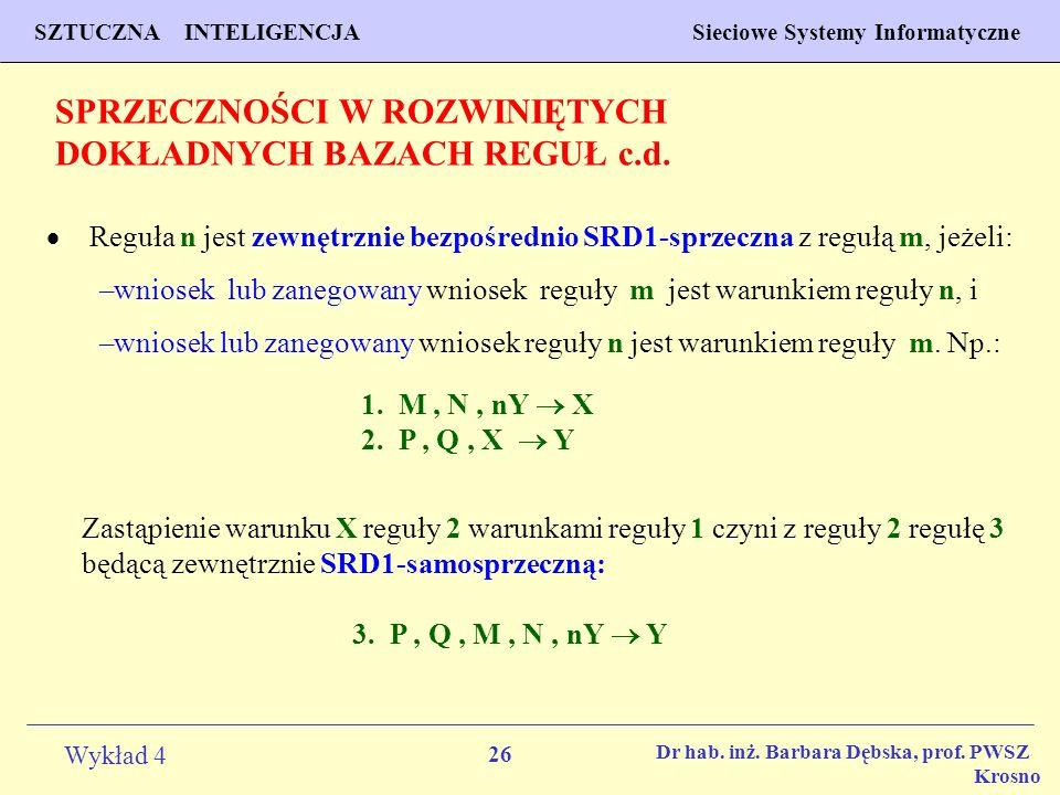 26 Wykład 4 PROGNOZOWANIE WŁAŚCIWOŚCI MATERIAŁÓW Inżynieria Materiałowa SZTUCZNA INTELIGENCJA Sieciowe Systemy Informatyczne Dr hab. inż. Barbara Dębs