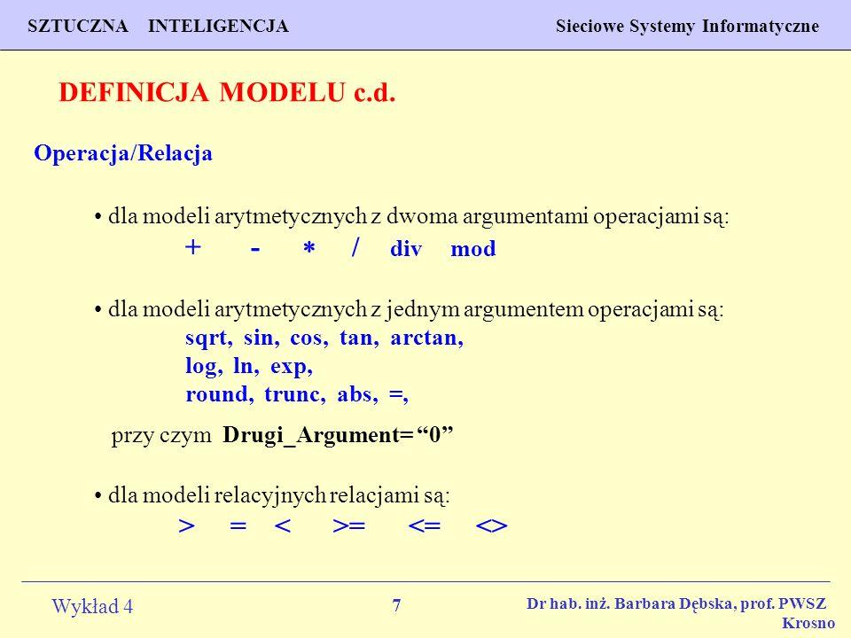 7 Wykład 4 PROGNOZOWANIE WŁAŚCIWOŚCI MATERIAŁÓW Inżynieria Materiałowa SZTUCZNA INTELIGENCJA Sieciowe Systemy Informatyczne Dr hab. inż. Barbara Dębsk