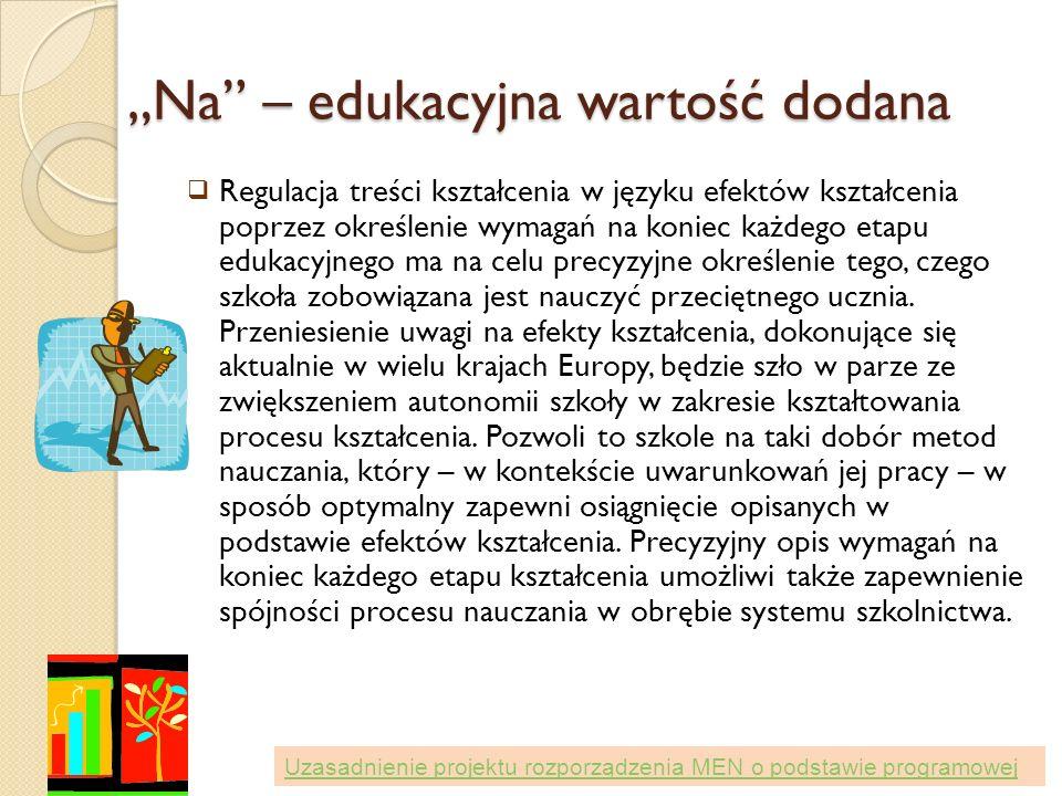 Na – edukacyjna wartość dodana Regulacja treści kształcenia w języku efektów kształcenia poprzez określenie wymagań na koniec każdego etapu edukacyjne