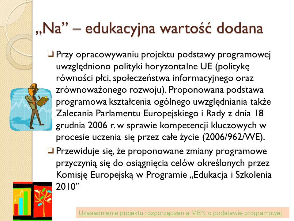 Na – edukacyjna wartość dodana Przy opracowywaniu projektu podstawy programowej uwzględniono polityki horyzontalne UE (politykę równości płci, społecz