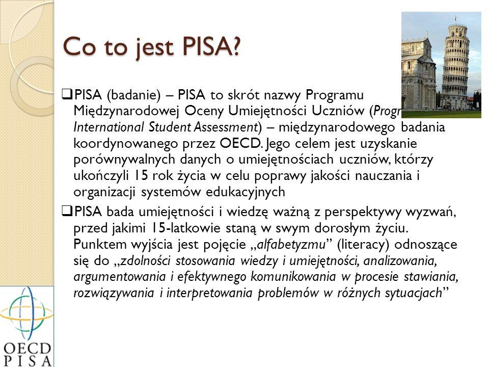 Co to jest PISA? PISA (badanie) – PISA to skrót nazwy Programu Międzynarodowej Oceny Umiejętności Uczniów (Programme for International Student Assessm