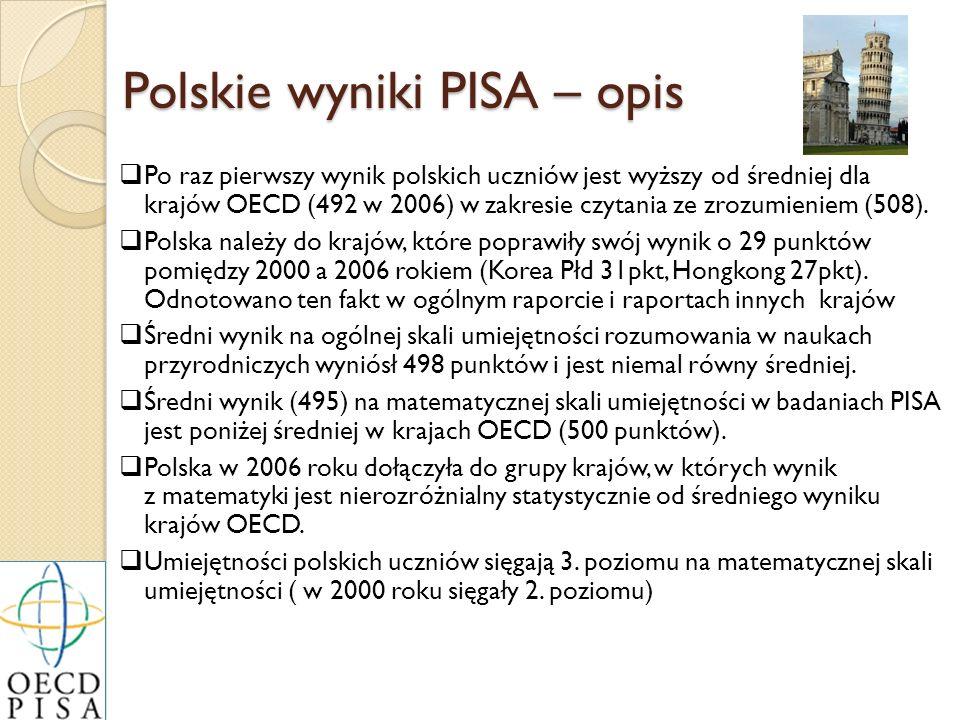 Polskie wyniki PISA – opis Po raz pierwszy wynik polskich uczniów jest wyższy od średniej dla krajów OECD (492 w 2006) w zakresie czytania ze zrozumie