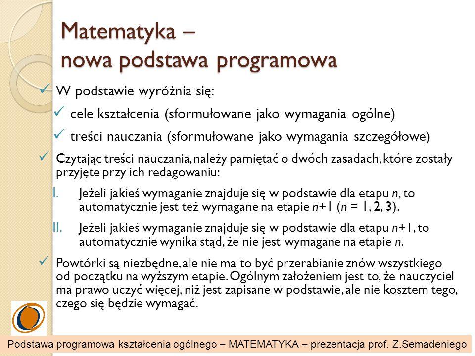 Matematyka – nowa podstawa programowa W podstawie wyróżnia się: cele kształcenia (sformułowane jako wymagania ogólne) treści nauczania (sformułowane j