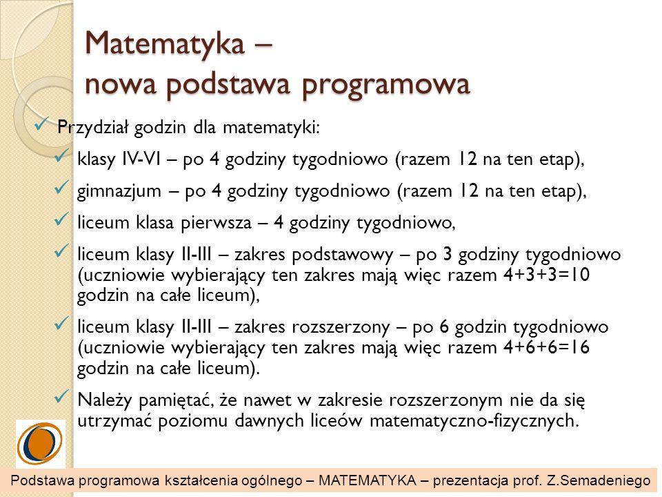 Matematyka – nowa podstawa programowa Przydział godzin dla matematyki: klasy IV-VI – po 4 godziny tygodniowo (razem 12 na ten etap), gimnazjum – po 4