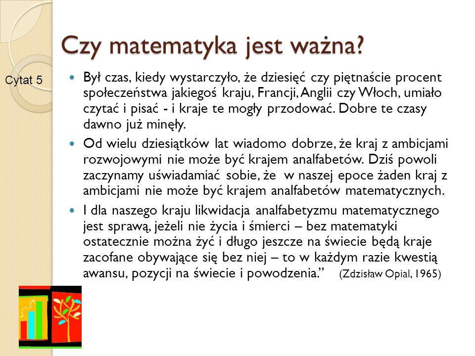 Efekty edukacji matematycznej Nasi uczniowie mają trudności: w stosowaniu technik twórczego myślenia do rozwiązania zadania problemowego, łączącego wiedzę z zakresu fizyki i matematyki (22%), interpretowanie własności funkcji (23%) i przekształcanie jej wzoru (29%), wykorzystanie własności miar figur podobnych (29%) Słabe strony polskich gimnazjalistów – egzamin Egzamin gimnazjalny w roku 2006 – sprawozdanie Centralnej Komisji Egzaminacyjnej