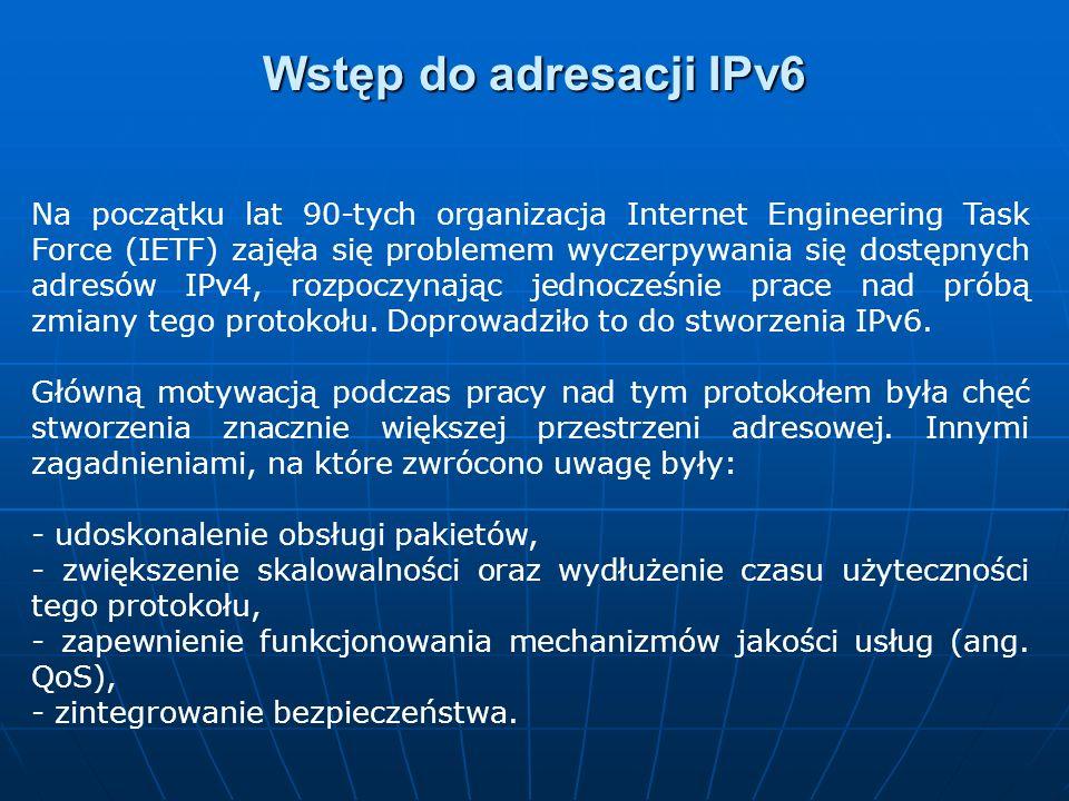Na początku lat 90-tych organizacja Internet Engineering Task Force (IETF) zajęła się problemem wyczerpywania się dostępnych adresów IPv4, rozpoczynaj