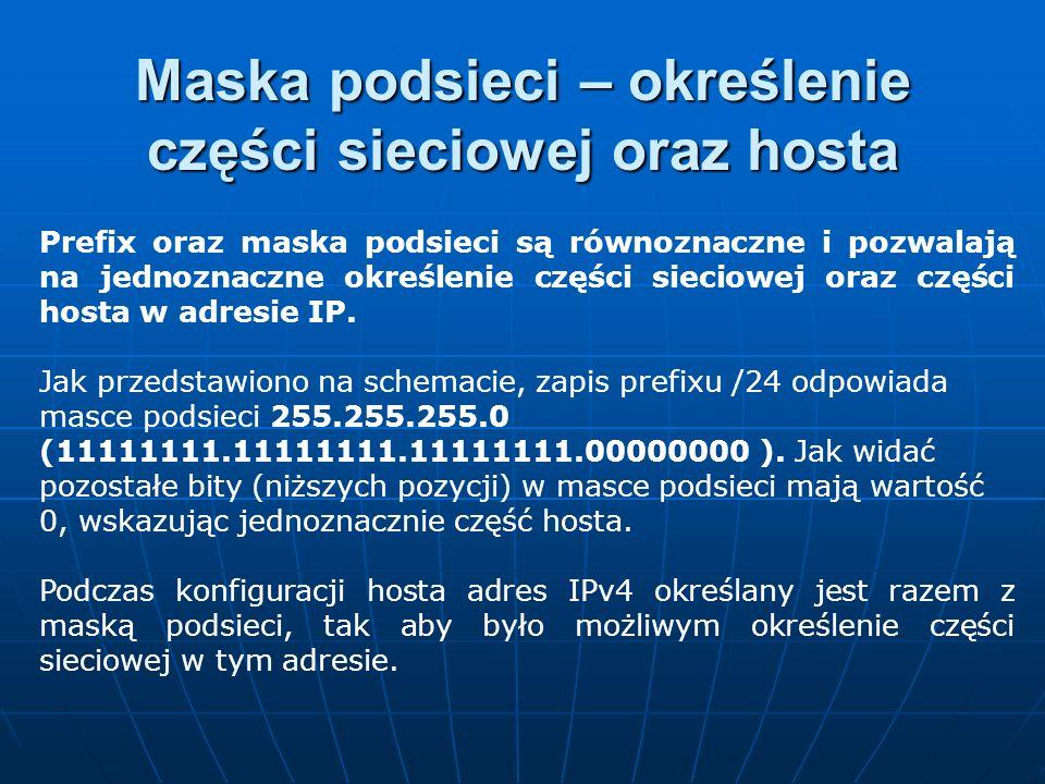 Prefix oraz maska podsieci są równoznaczne i pozwalają na jednoznaczne określenie części sieciowej oraz części hosta w adresie IP. Jak przedstawiono n