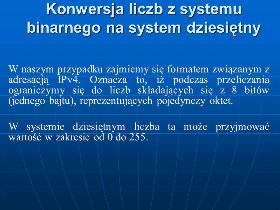 Konwersja liczb z systemu binarnego na system dziesiętny W naszym przypadku zajmiemy się formatem związanym z adresacją IPv4. Oznacza to, iż podczas p
