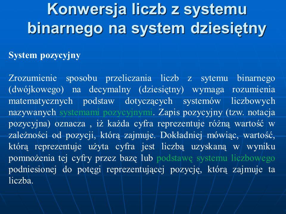 Konwersja liczb z systemu binarnego na system dziesiętny System pozycyjny Zrozumienie sposobu przeliczania liczb z sytemu binarnego (dwójkowego) na de