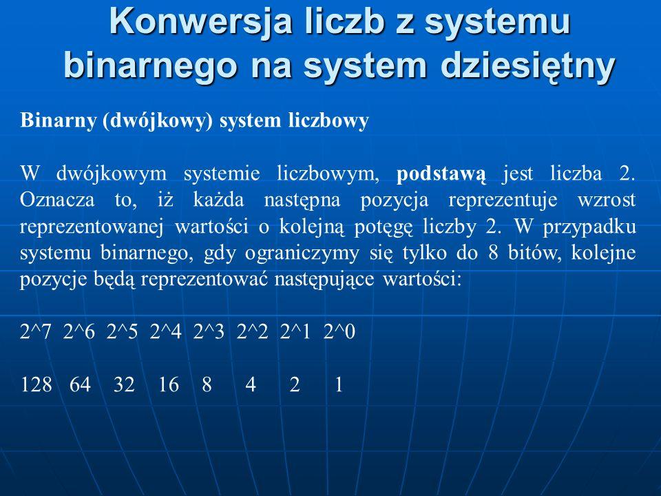 Konwersja liczb z systemu binarnego na system dziesiętny Binarny (dwójkowy) system liczbowy W dwójkowym systemie liczbowym, podstawą jest liczba 2. Oz