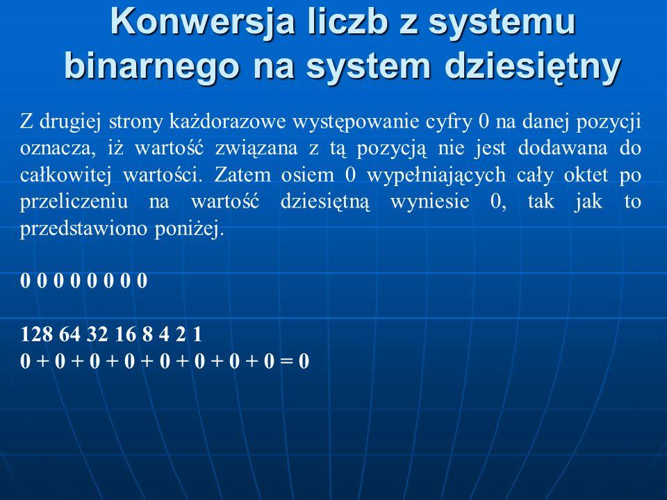 Konwersja liczb z systemu binarnego na system dziesiętny Z drugiej strony każdorazowe występowanie cyfry 0 na danej pozycji oznacza, iż wartość związa