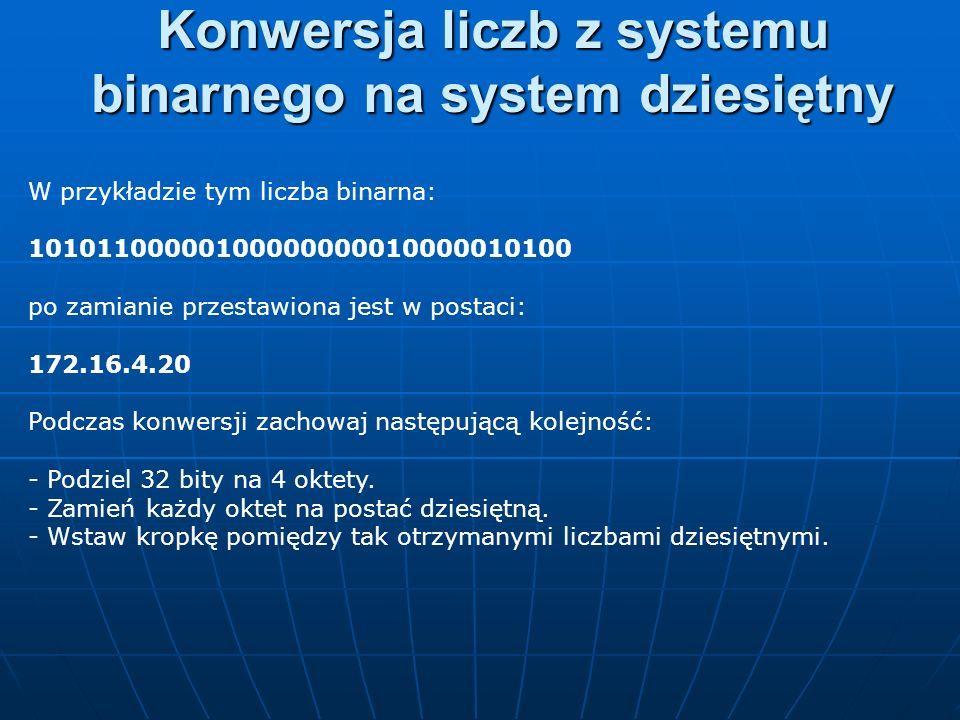 W przykładzie tym liczba binarna: 10101100000100000000010000010100 po zamianie przestawiona jest w postaci: 172.16.4.20 Podczas konwersji zachowaj nas