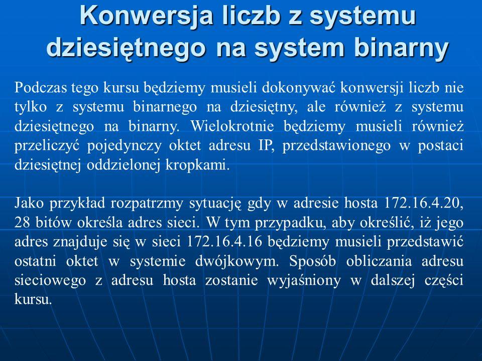 Konwersja liczb z systemu dziesiętnego na system binarny Podczas tego kursu będziemy musieli dokonywać konwersji liczb nie tylko z systemu binarnego n