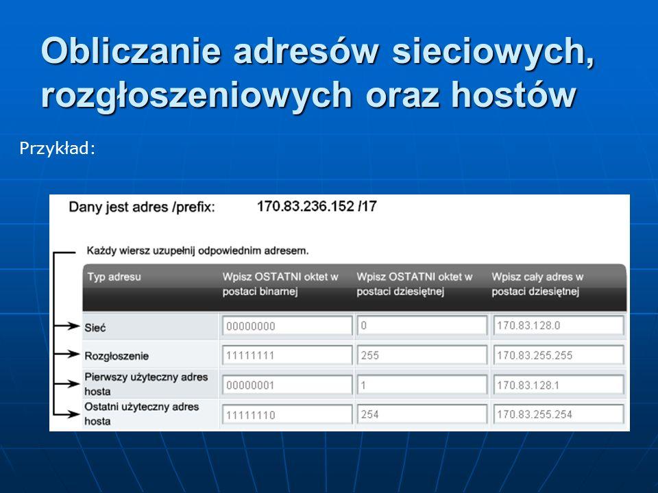 Przykład: Obliczanie adresów sieciowych, rozgłoszeniowych oraz hostów
