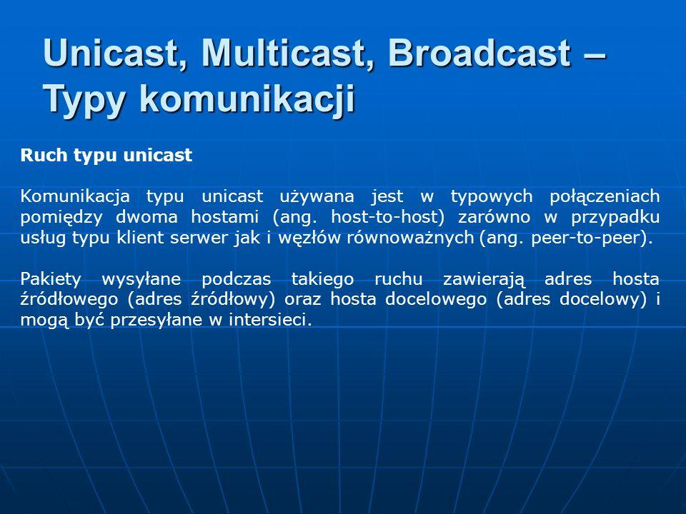 Ruch typu unicast Komunikacja typu unicast używana jest w typowych połączeniach pomiędzy dwoma hostami (ang. host-to-host) zarówno w przypadku usług t