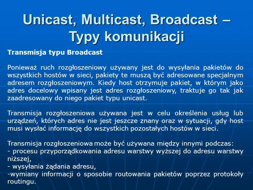 Transmisja typu Broadcast Ponieważ ruch rozgłoszeniowy używany jest do wysyłania pakietów do wszystkich hostów w sieci, pakiety te muszą być adresowan