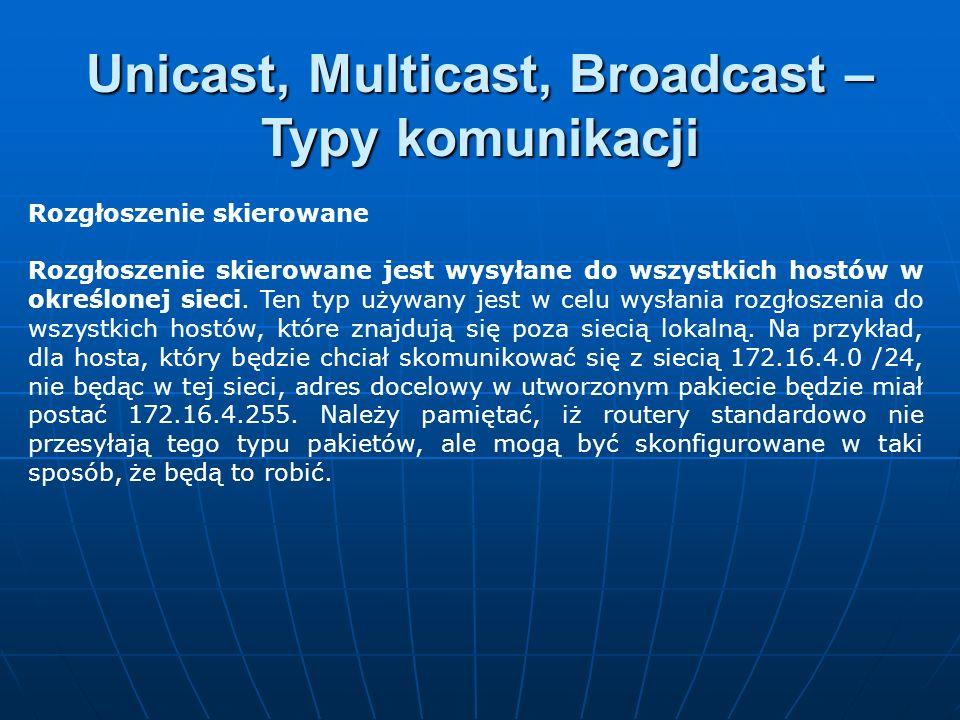 Rozgłoszenie skierowane Rozgłoszenie skierowane jest wysyłane do wszystkich hostów w określonej sieci. Ten typ używany jest w celu wysłania rozgłoszen