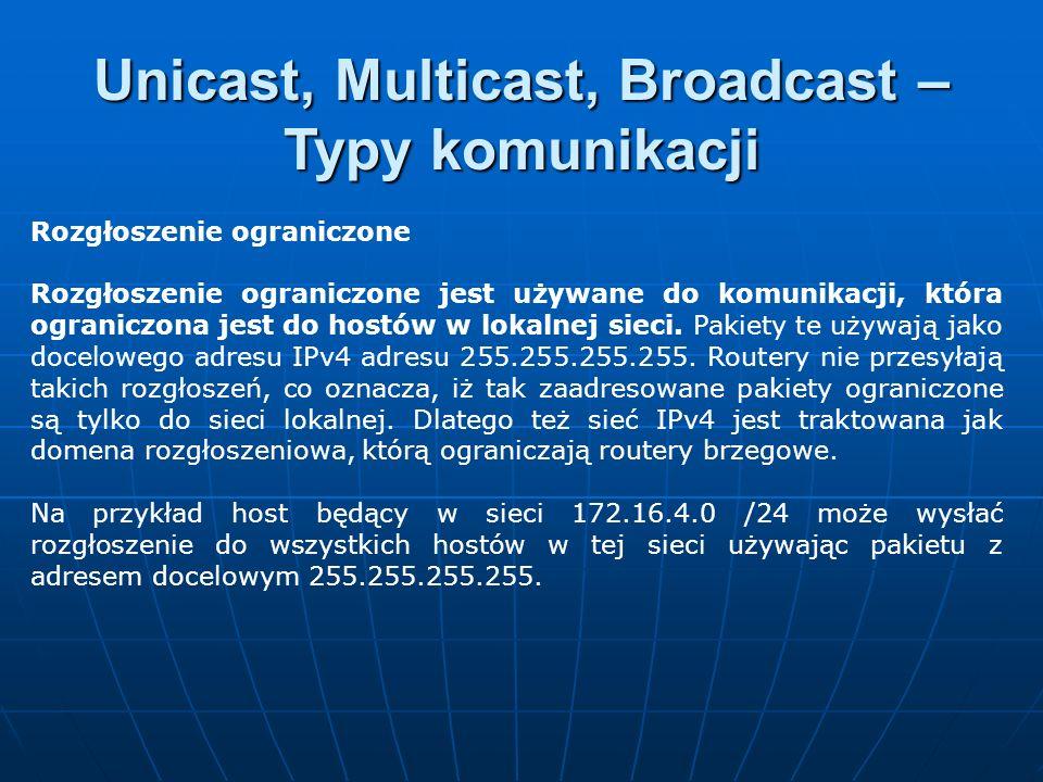 Rozgłoszenie ograniczone Rozgłoszenie ograniczone jest używane do komunikacji, która ograniczona jest do hostów w lokalnej sieci. Pakiety te używają j