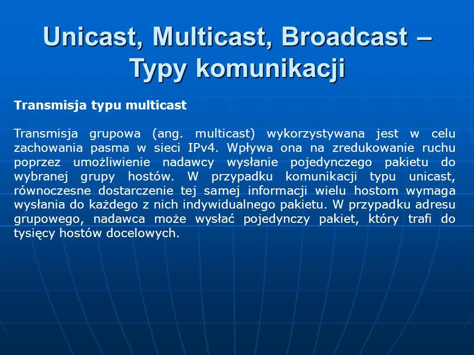 Transmisja typu multicast Transmisja grupowa (ang. multicast) wykorzystywana jest w celu zachowania pasma w sieci IPv4. Wpływa ona na zredukowanie ruc
