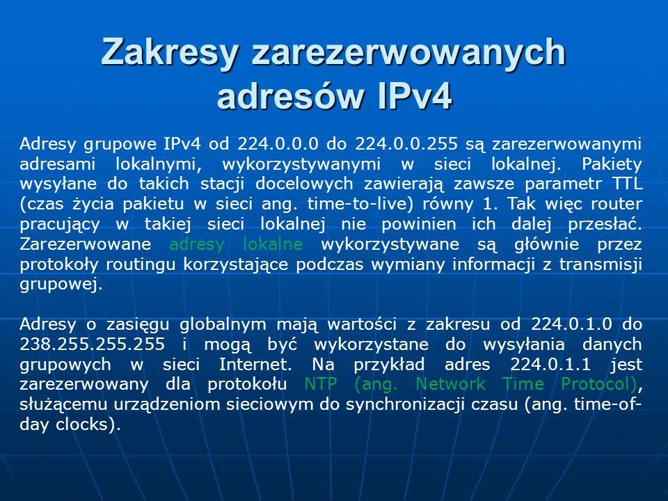 Adresy grupowe IPv4 od 224.0.0.0 do 224.0.0.255 są zarezerwowanymi adresami lokalnymi, wykorzystywanymi w sieci lokalnej. Pakiety wysyłane do takich s