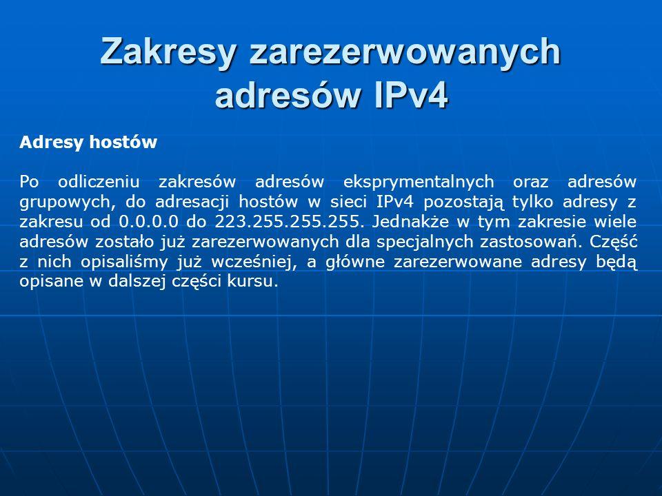 Adresy hostów Po odliczeniu zakresów adresów eksprymentalnych oraz adresów grupowych, do adresacji hostów w sieci IPv4 pozostają tylko adresy z zakres