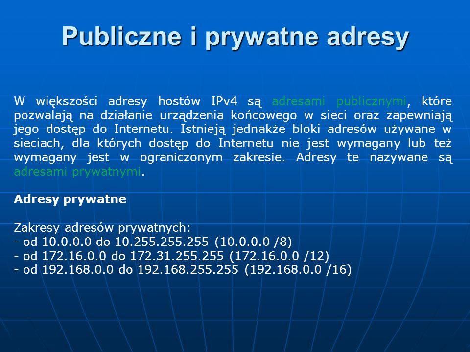 W większości adresy hostów IPv4 są adresami publicznymi, które pozwalają na działanie urządzenia końcowego w sieci oraz zapewniają jego dostęp do Inte
