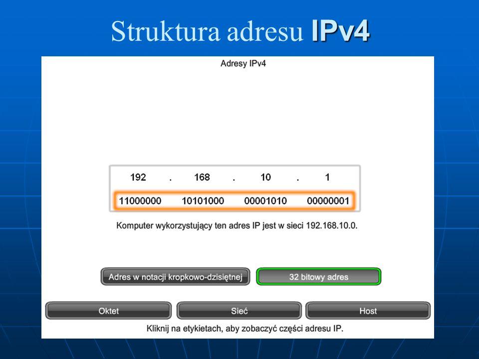 Adresy eksperymentalne Głównym blokiem adresów zarezerwowanym dla celów specjalnych jest eksperymentalny zakres adresów od 240.0.0.0 do 255.255.255.254.